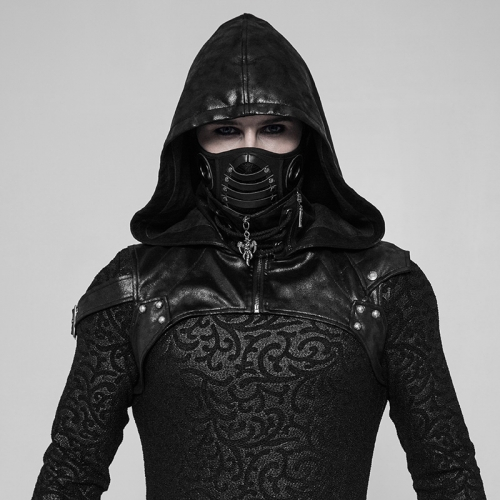 PUNK RAVE Punk black mouth mask hooded WS-275