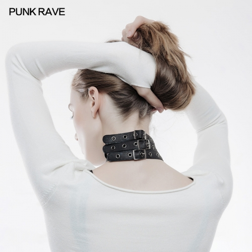 Punk Rave studded adjustable leather choker WS-241