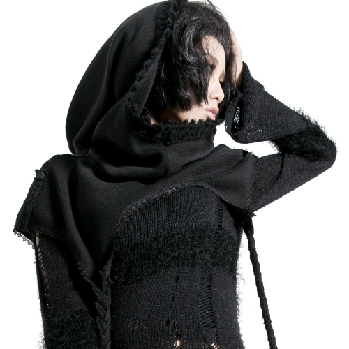 Punk Rave Ladies Knitted Black Wool Ponchos Capes S-125