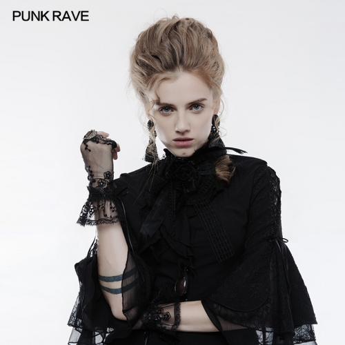 PUNK RAVE  Gothic Style black Lace Gloves WS-247
