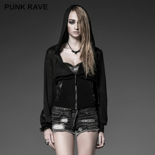 Punk Rave Women Athletic Cardigan With Rivets  PY-056