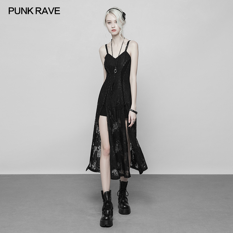 Punk Rave Fashion Black Gothic Punk Handsome Mosaic Short Summer Casual Dress
