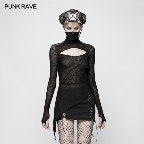 PUNK RAVE women long t-shirt OT-554TCF