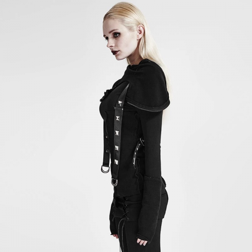 PUNK RAVE Street Decadent Thread Stitching More Layers Knitted Sweater With Hood Y-680