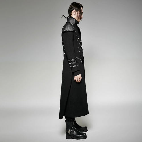 PUNK RAVE handsome men Military wool great overcoat Gothic long winter coats Y-708