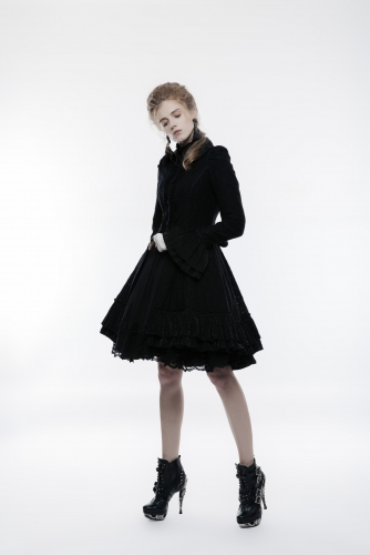 PUNK RAVE Lolita hollow out ruffles lace flowers pattern women fitted long overcoat WLY-067LCF