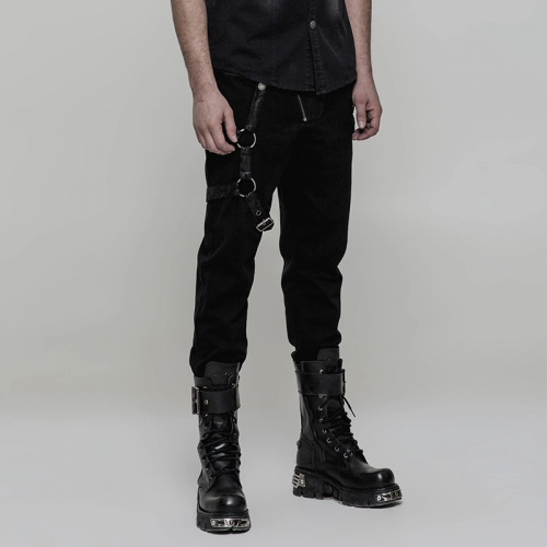 PUNK RAVE Steampunk Pencil Fitted Polyester PU Leather Stripe Men Skinny Trousers WK-323XCM