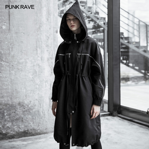 PUNK RAVE Wizard Hat Drawstring Loose Long Windbreaker OPY-351XCF