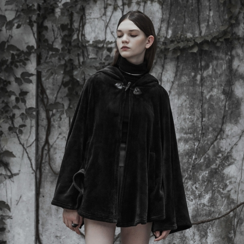 PUNK RAVE Dark Velvet Embroidered Cloak Jacke OPY-341DPF
