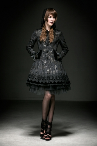 PUNK RAVE Lolita butterfly flocking rose button lond coat with hat LY-046