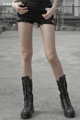 Gothic Sexy Tied Rope Short Jeans OPK-302NDF